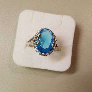 Jewelry - Blue Topaz Ring Size 6 14Kt White Gold Filled, New